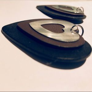Silver Brown & Black Wooden Layered Heart Earrings